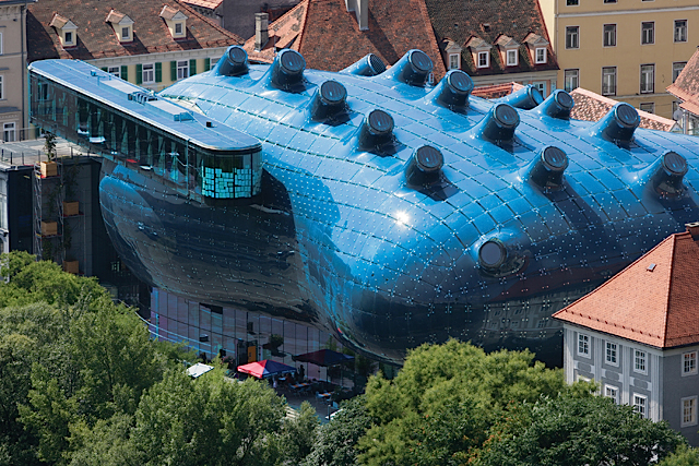 Kunsthaus Graz, or Graz Art Museum, was built as part of the European Capital of Culture celebrations in 2003 and has since become an architectural landmark in Graz, Austria. © Graz Tourismus - Harry Schiffer