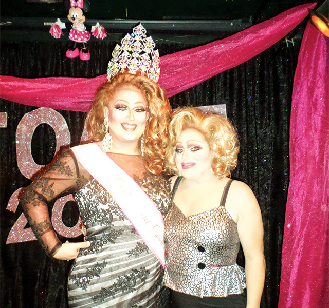 Miss Toast of the Town House 2015, Anastasia C. Principle (left), and Emcee Lily White. Photo by George Holdgrafer