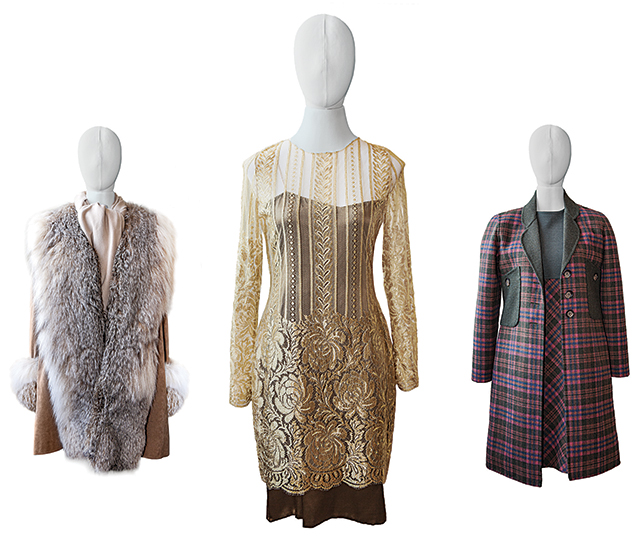 Fall and winter looks of yore by Halston (fur on ultrasuede) and Bill Blass (lace atop asymmetrical dress; green, pink, and blue plaid set). Photos by Mike Hnida