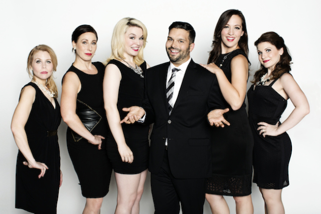 Cast of The Realish Housewives of Edina (Kim Kivens as Ravonka, Katherine Kupiecki as Gwen, Karissa Lade as Desiree, Adan Varela as Randy Bowen, Anna Hickey as Brooke and Quinn Shadko as Claudia-Louise) Photo by Eliesa Johnson