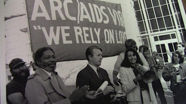 Congressman Ron Dellums, left, and Nancy Pelosi marched at the AIDS Vigil. Photo: Courtesy GLBT Historical Society.