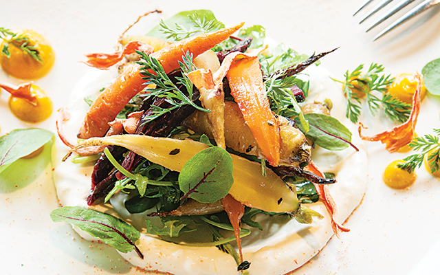 Wood-roasted carrot salad. Photo by Hubert Bonnet