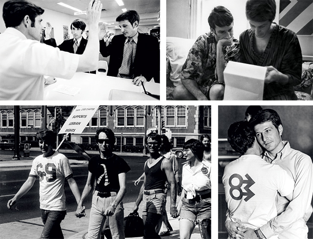 (Clockwise) Applying for a marriage license. Photo by R. Bertrand Heine courtesy of the Minnesota Historical Society; Reviewing legal documents in the early 1970s. Photo by Charlotte Brooks; Jack at the first FREE dance at the University of Minnesota, 1970. Photo by Paul Hagen; Marching in the 1974 Gay Pride Parade, Minneapolis. Courtesy of the Jean-Nikolaus Tretter Collection in GLBT Studies, University of Minnesota Libraries