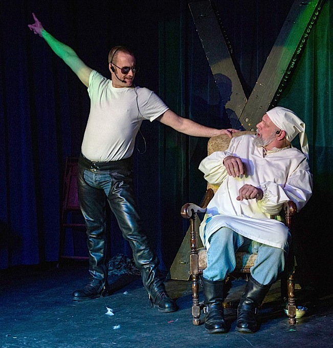 The Ghost of Christmas Past (left, played by Tim Hotchkin) invites Scrooge to revisit his youth. Photo by Everett Allen Photography.