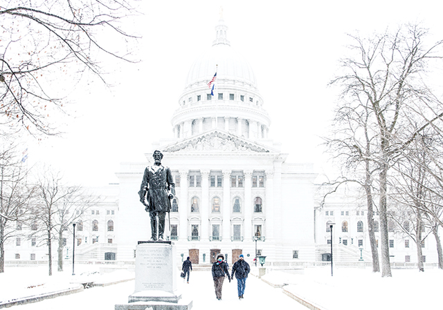 Wiscinsin State Capitol in winter. Photo courtesy of Erica Tadsen Photography