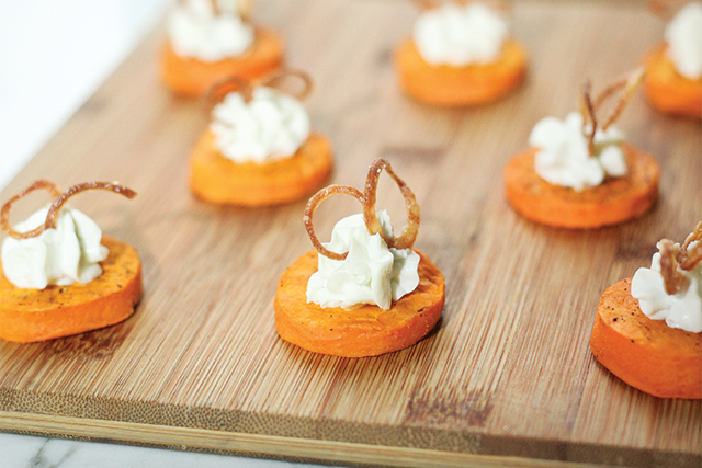 Sweet Potato Canapé with roasted sweet potato, blue cheese, and crispy shallots.