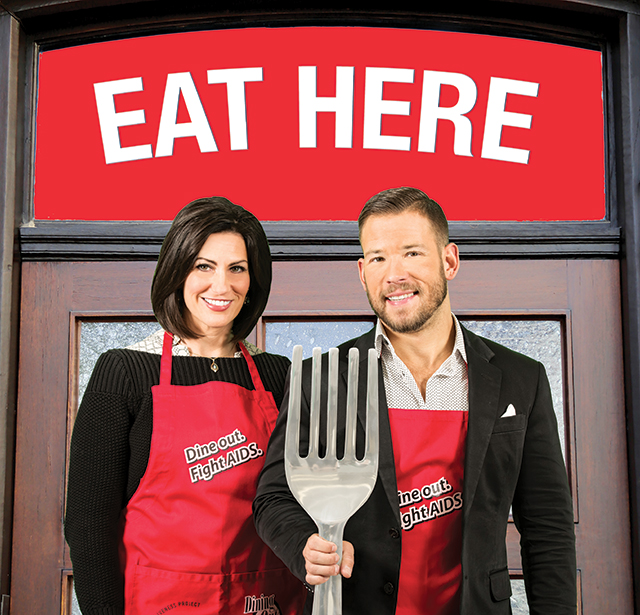 "Rena Sarigianopoulos and Sven Sundgaard from KARE11 want you to ""Dine Out, Fight AIDS"" for The Aliveness Project on April 28, 2016. Photo and production by Anna Min and Diane Napper"