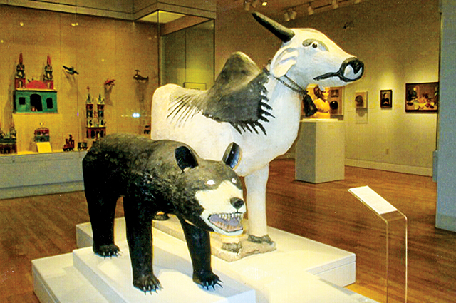 Wooden bear, cement bull part of San Antonio Museum of Art's collection of Latin American art