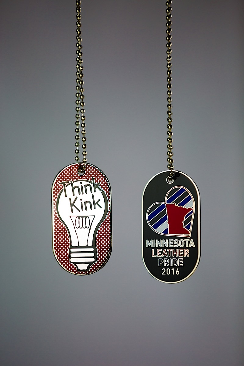"""Think Kink"": the Minnesota Leather Pride dog tag for 2016. Photo by Andrew Bertke."