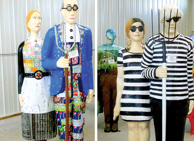 """America Gothic"""" statues, to be placed around town in Cedar Rapids to celebrate Grant Woods' Birthday Anniversary."""