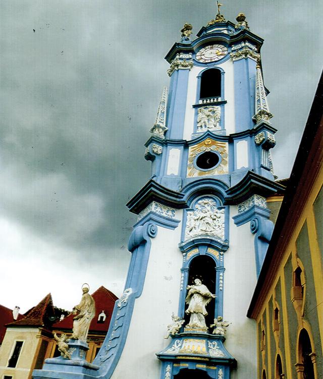 Baroque churchtower overlooking the Danube in tiny Durnstein, Austria