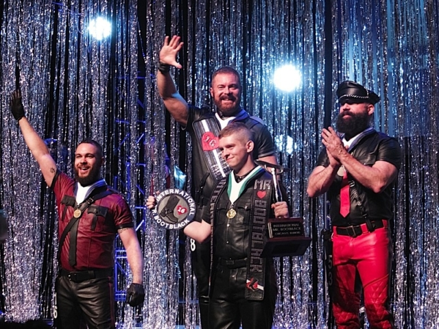 "Left to right: IML 2016 second runner-up Adam ""Pup Vino"" Henderson; IML 2016 David ""Tigger"" Bailey; International Mr. Bootblack 2016 Erick Joseph; IML 2016 first runner-up Todd Harris. Photo by Steve Lenius."