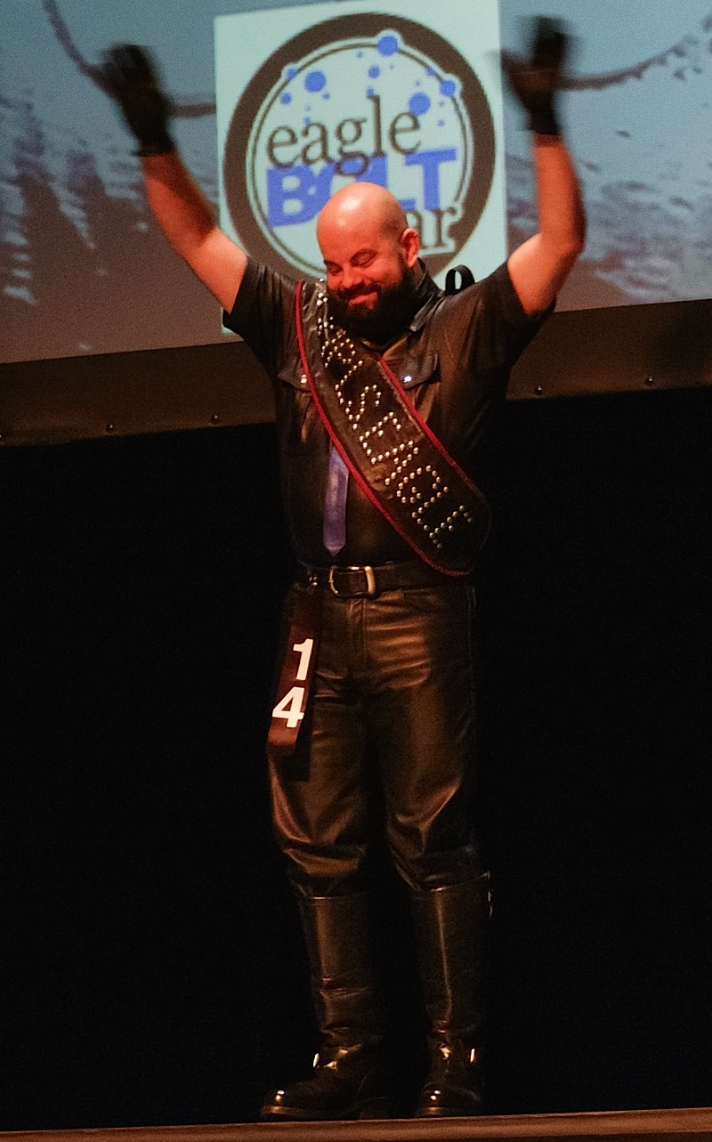 Mr. Minneapolis Eagle 2016 L. Russell Waisanen at Sunday's International Mr. Leather 2016 contest and show. Photo by Steve Lenius.