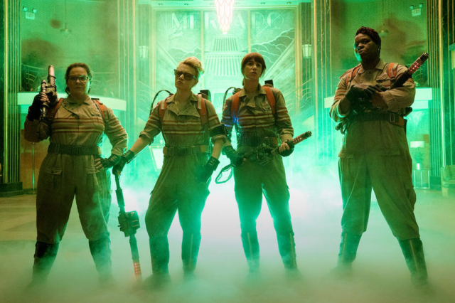The Ghostbusters Abby (Melissa McCarthy), Holtzmann (Kate McKinnon), Erin (Kristen Wiig) and Patty (Leslie Jones) inside the Mercado Hotel Lobby in Columbia Pictures' GHOSTBUSTERS. Photo by Hopper Smith