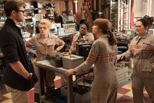 GHOSTBUSTERS, from left: Chris Hemsworth, Kate McKinnon, Leslie Jones, Kristen Wiig, Melissa McCarthy. Photo by Hopper Stone