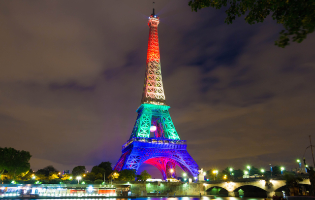 The Eiffel tower lit up in colors of the rainbow flag after the Orlando terror attack. BigStockPhoto.com