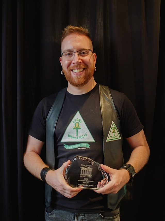 Andrew Bertke, 2016 Pantheon of Leather Midwest Regional Award winner. Photo by Steve Lenius.