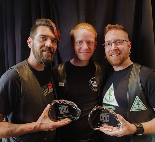 Left to right: Karri Plowman and Tynan Fox, TCL&L owners and winners of Pantheon of Leather Award for Business of the Year 2016, and Andrew Bertke, winner of 2016 Pantheon of Leather Midwest Regional Award. Photo by Steve Lenius.