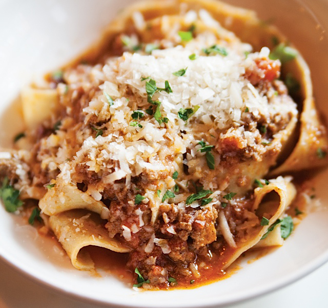 A bowl of comfort, the pappardelle with Italian sausage and beef ragu.
