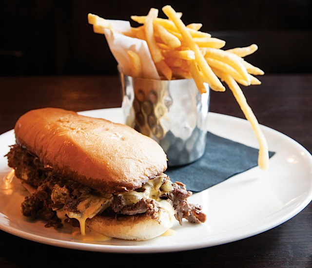 A salty Philly cheesesteak with house-made Cheez Whiz.