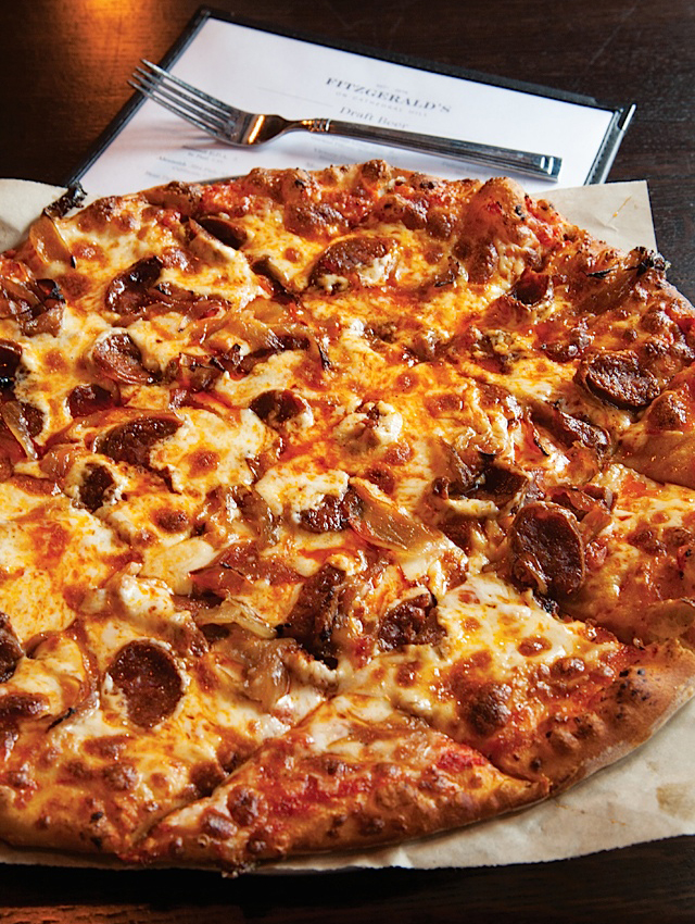 The pizza with sweet caramelized onions and spicy chorizo.