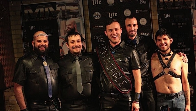 "At the conclusion of the Mr. Minneapolis Eagle 2017 contest, left to right: L. Russell Waisanen (Mr. Minneapolis Eagle 2016), Teddy Covey, Eric ""Pup Omega"" Stafford (Mr. Minneapolis Eagle 2017), Dick Salami and Mike Sletten. Photo by Andrew Bertke."
