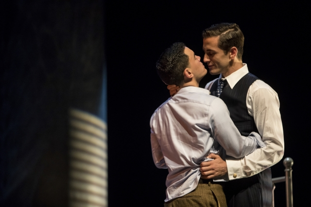 Andres Acosta as Timothy Laughlin and  Hadleigh Adams as Hawkins Fuller in Fellow Travelers. Photo by Dan Norman