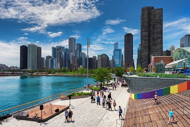 Navy Pier and Chicago skyline on June 21, 2017 in Chicago, Illinois. The Navy Pier - Chicagos number one tourist attraction.