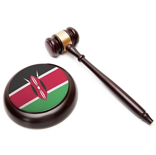 Judge gavel and soundboard with national flag on it - Kenya