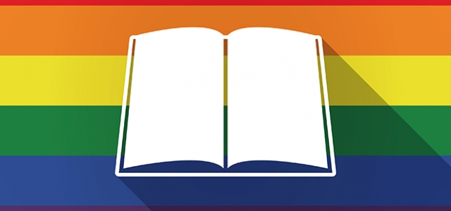 Illustration of a long shadow lgbt gay pride flag with a book