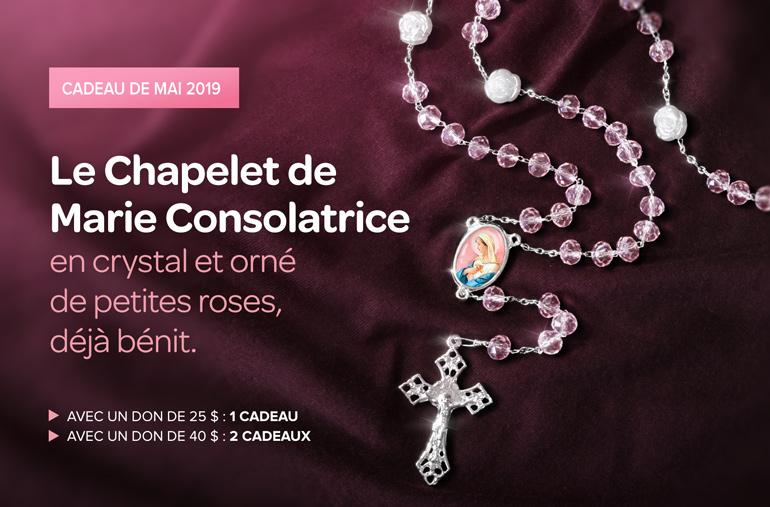 Cadeau de mai 2019 - Le Chapelet de Marie Consolatrice en cristal et orné de petites roses, déjà bénit.
