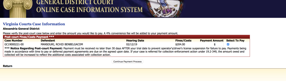 Processing payment page when you pay Virginia fines and costs online.