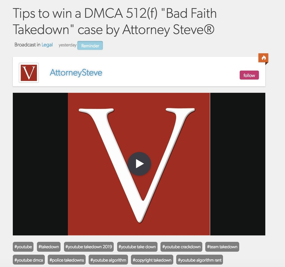 Los angeles bad faith dmca youtube attorney