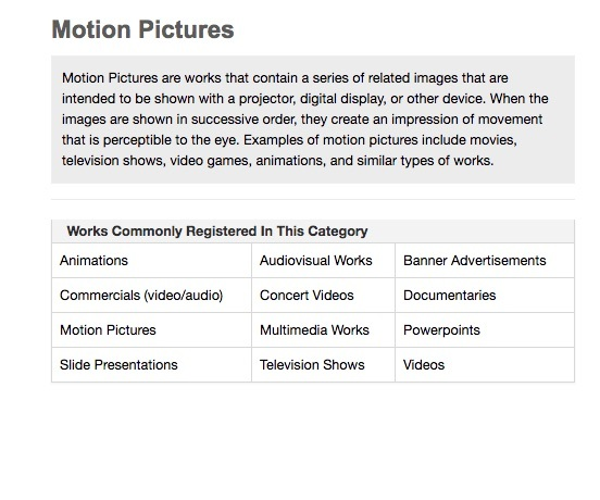 Copyright registration for film video and motion picture