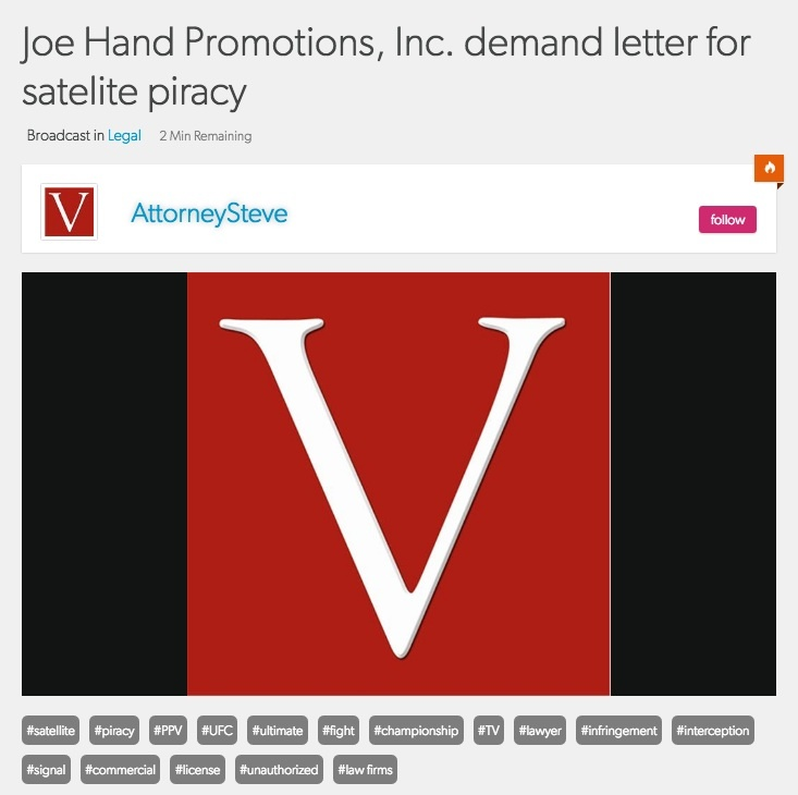 Satellite piracy letter from joe hand promotions inc.