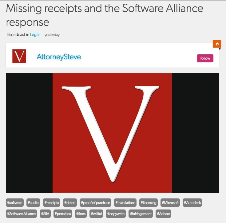 Lost software license receipts in bsa audit
