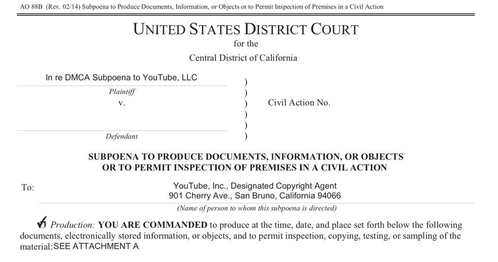 California DMCA subpoena law firm