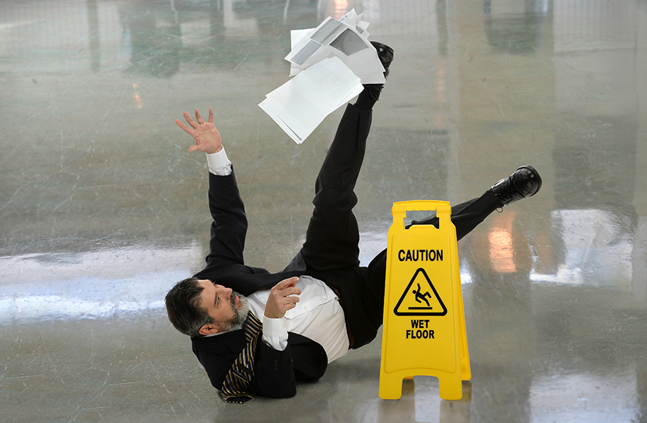 Man Falling on a Wet Floor