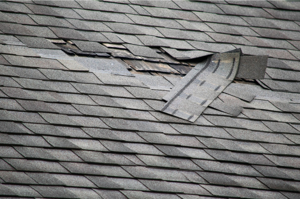 Wind damage to roof insurance claim