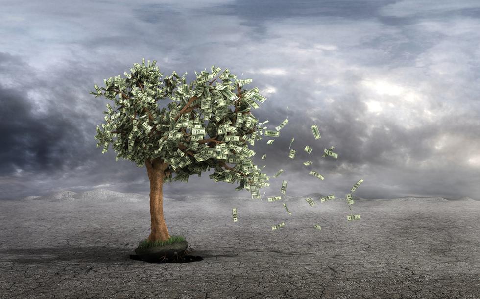 Money blowing away