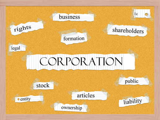 Corporation Corkboard Word Concept