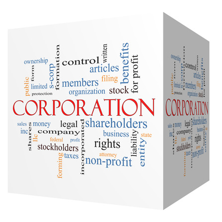 Corporation 3D cube Word Cloud Concept with great terms such as shareholders, legal, entity and more.