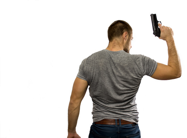 Man brandishing gun in violation of California law.