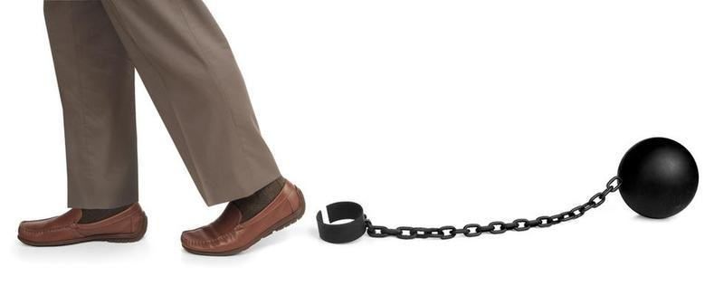 man set free from ball and chain