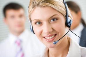 female receptionist wearing headset