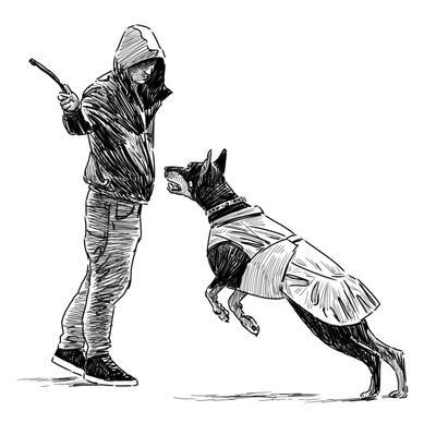 drawing of man training dog to attack