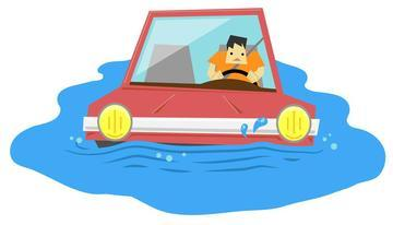 cartoon image of a motorist driving through a body of water