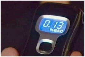 breathalyzer showing .13 BAC