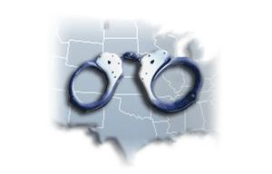 map with handcuffs