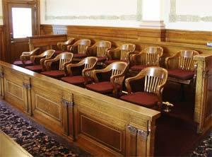 A jury box. Only felony defendants in Nevada may have a jury trial.